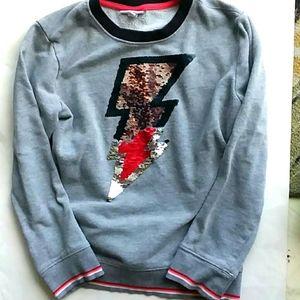 Sequin lightning bolt sweatshirt